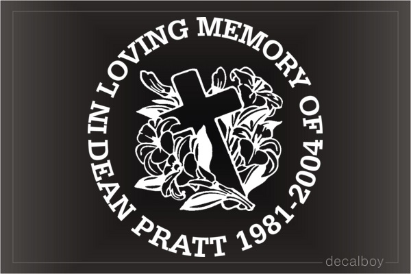 In Loving Memory Cross Flowers Car Decal