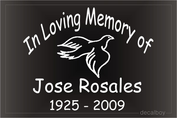 In Loving Memory Dove Car Decal