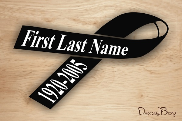 In Loving Memory Ribbon 2 Car Decal