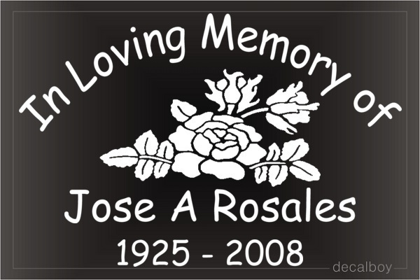 In Loving Memory Rose Car Decal