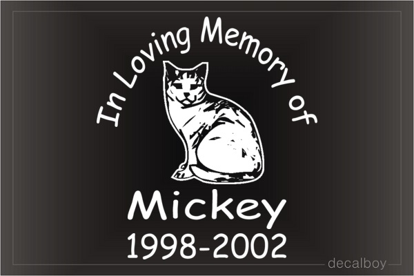 In Loving Memory Of Cat Car Decal