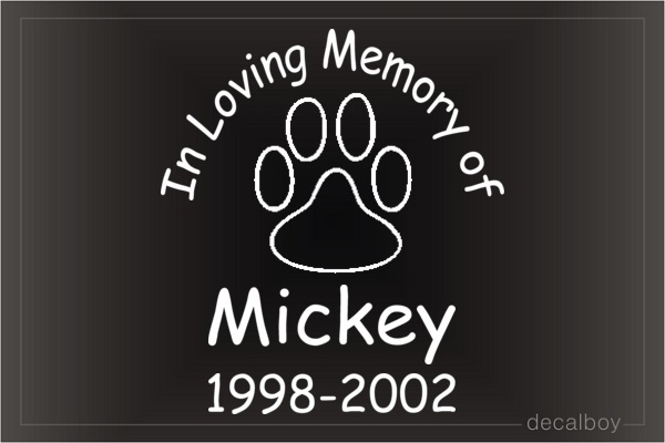 In Loving Memory Of Dog Paw Car Decal