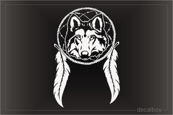 Indian Wolf Dreamcatcher Decal