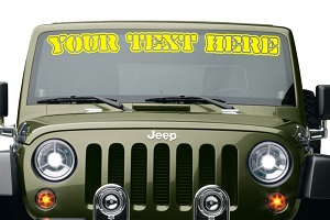 Lettering On Front Windshield Vinyl Die-cut Decal