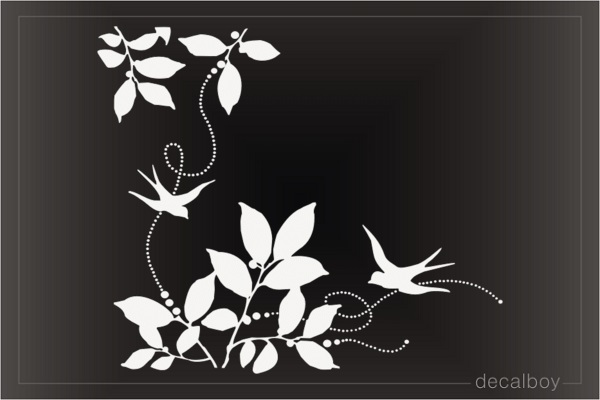 Leaves Bird Design Die-cut Decal