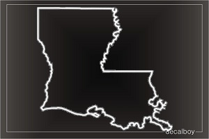 Louisiana Map With Love Heart Decal