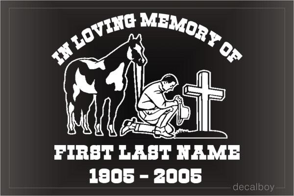 In Loving Memory Car Decals >> Memorial Cowboy Kneeling At Cross Decal