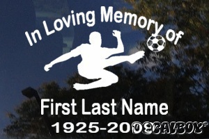 In Memory Soccer Player Car Decal