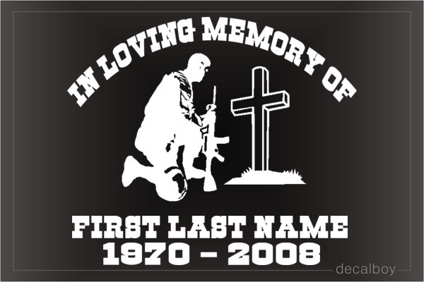 Memorial Soldier Kneeling Car Decal
