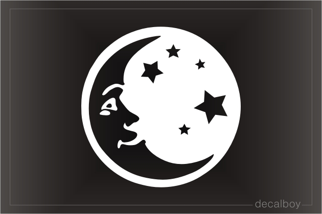 Crescent Moon And Stars Car Window Decal
