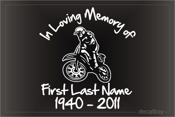Motorcycle Memorial Car Decal
