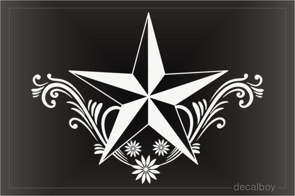 Nautical Star Floral Car Decal