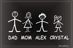 Family Stick Figures Window Custom Decal