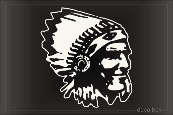 Native American Indian Face Car Window Decal