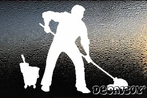 Janitor Cleaning Car Window Decal