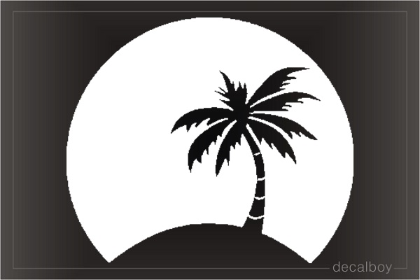 Palm Tree Moon Window Decal