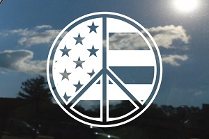 Peace Sign American Flag Car Decal