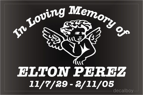In Loving Memory Angel Cherub Car Decal