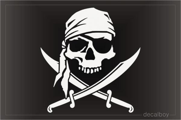Pirate Skull Swords Decal