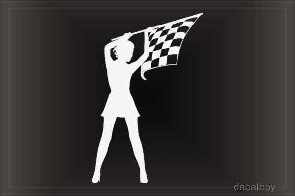 Racer Girl Pin Up Flag Decal