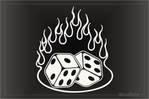Dice In Flame Window Decal