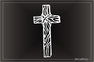 Cross Wooden Window Decal