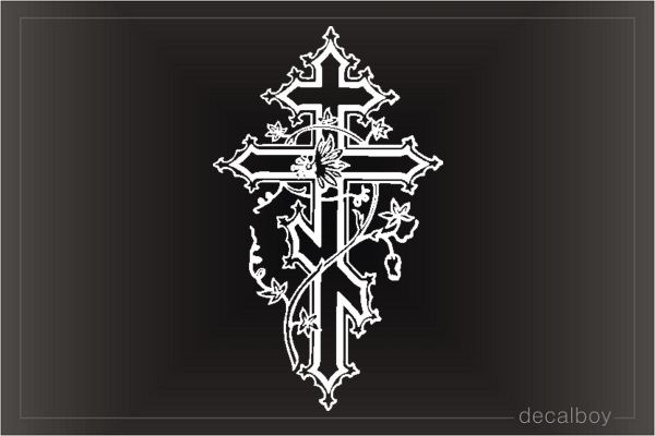 Cross Decorated Flowers Window Decal