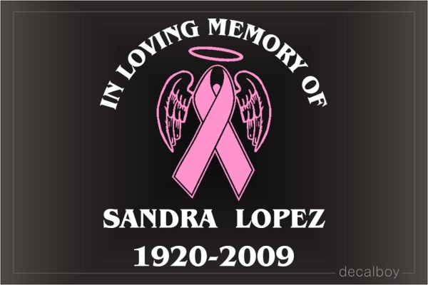 Ribbon Memorial Breast Cancer Car Decal