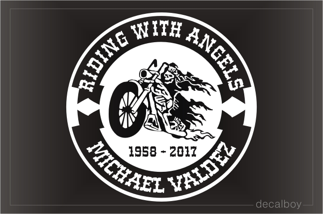 Riding With Angels Memorial Decal
