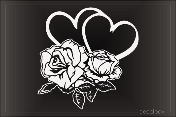 Rose Hearts Love Car Window Decal