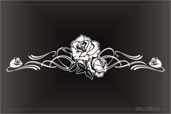 Rose Flower Stripe Window Decal