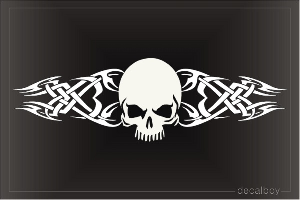 Skull With Tribal Flames Decal
