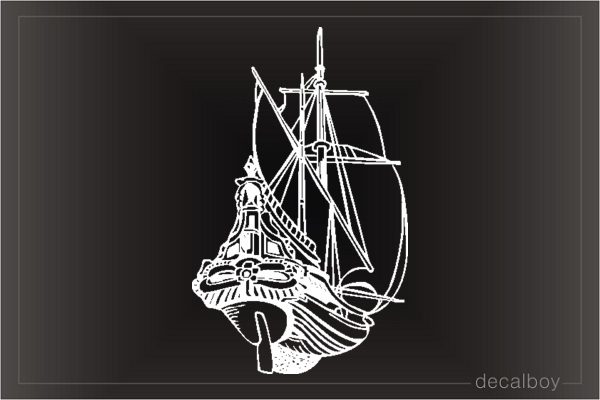 Sailer Boat Rear Car Decal