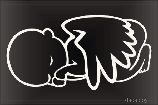 Sleeping Baby Angel With Wings Decal