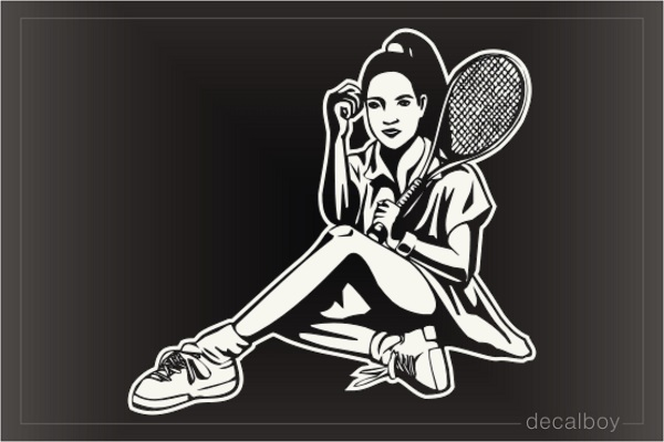 Tennis Player Girl Sitting Window Decal