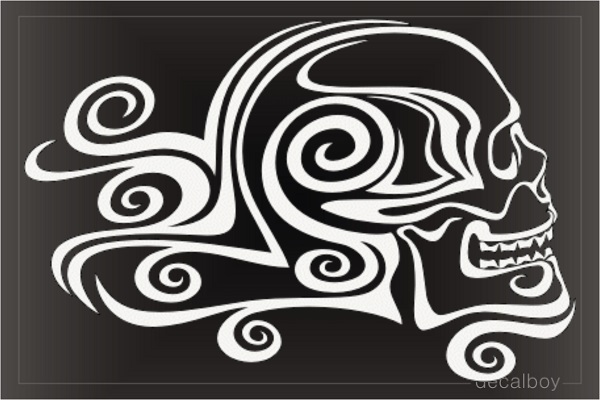Tribal Skull Curly Tail Spirals Decal