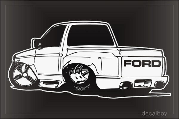 Lowered Truck Cartoon 554 Window Decal
