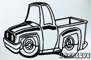 Lowered Pickup Truck Toy Window Decal