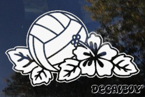 Volleyball Hibiscus Flower Window Decal