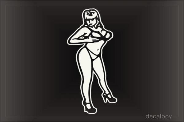 Woman Holding Breasts Car Window Decal