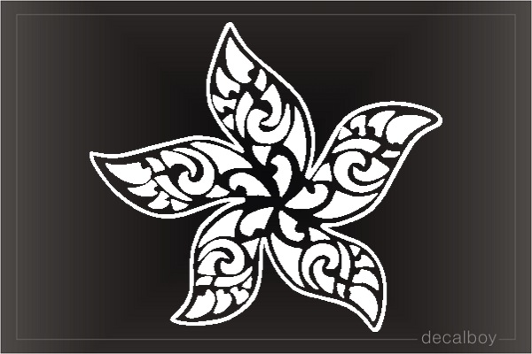 Hawaiian Flower Tribal Window Decal