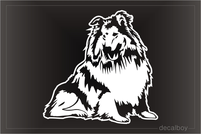 Rough Collie Sitting Window Decal