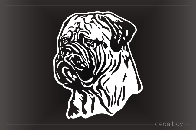 Bullmastiff Face Car Window Decal