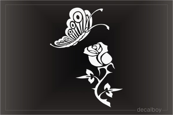 Butterfly And Rose Window Decal