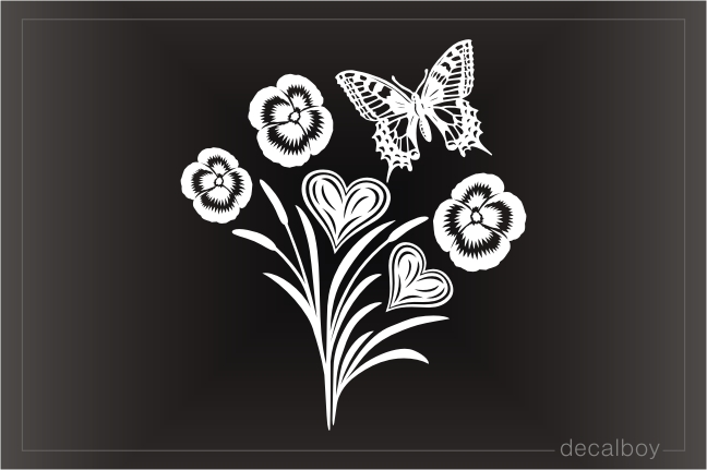 Butterfly Hearts Flowers Cattails Decal