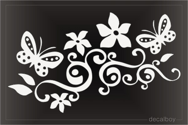 Butterfly Tribal Flowers Decorative Decal
