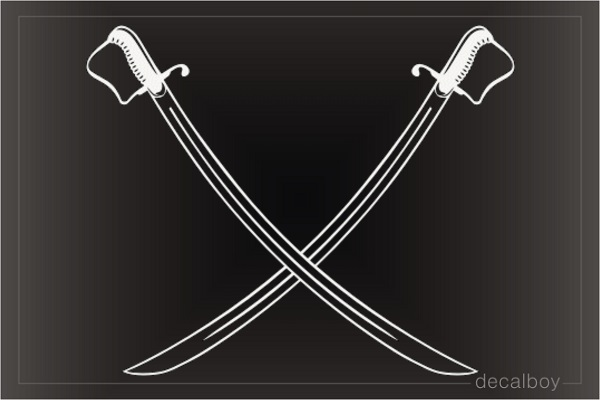 Cavalry Sabers Swords Crossed Car Decal
