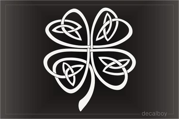 Celtic knot four leaf clover decal