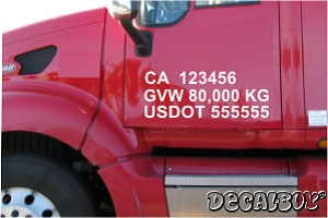 Commercial Truck Registration Number Decal