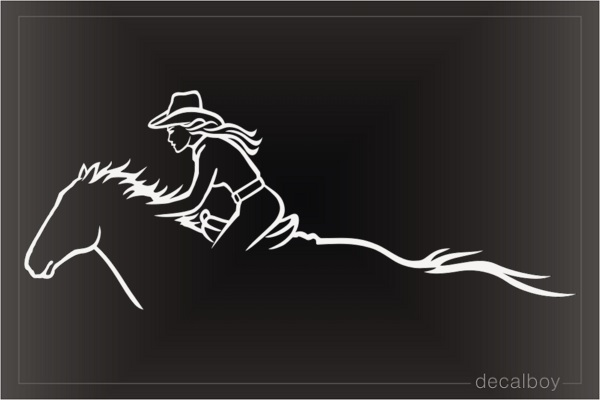 Cowgirl Fast Horse Decal